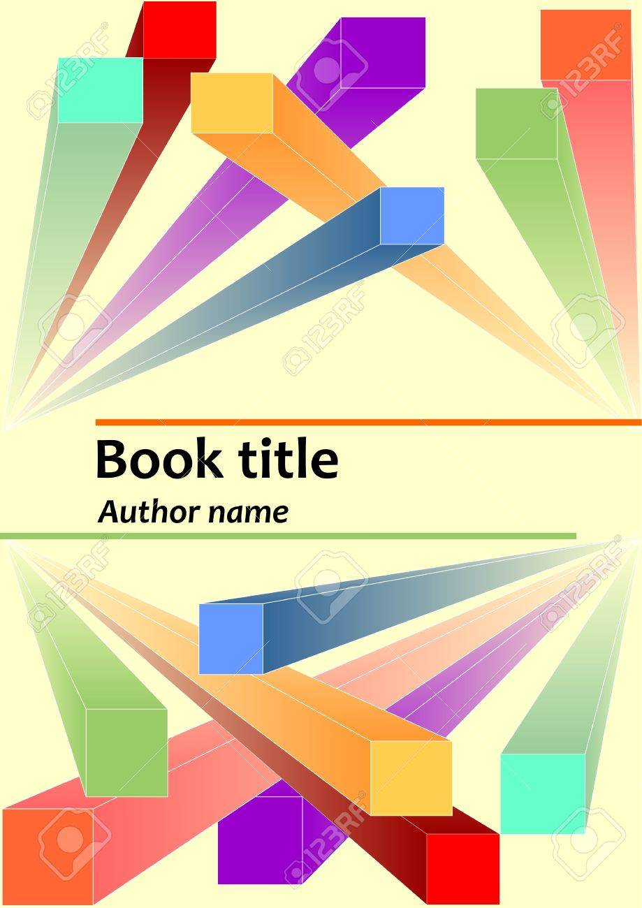 Book Cover Template With Abstract Prismatic 3d Colorful Elements ...