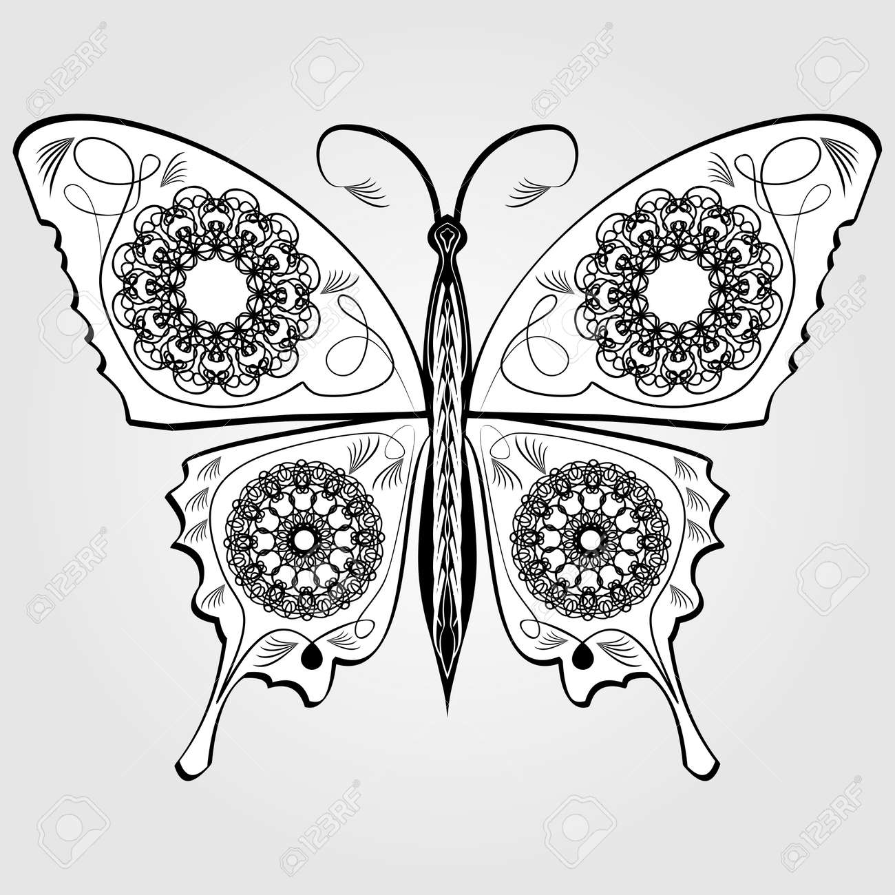 Mariposa Con Patrón De Calados En Las Alas, Monocromático Blanco Y ...