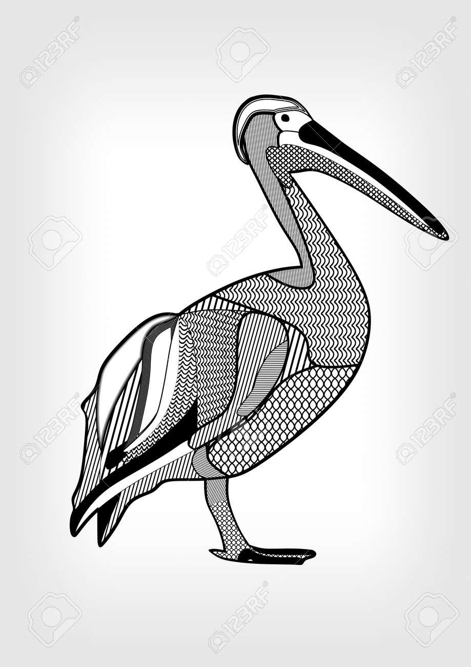 Pelican Dessin Noir Et Blanc Doiseaux Deau Avec Des Parties Du Corps Hachurés Et à Motifs Animaux Isolé Sur Gris Fond Dégradé Modèle De Tatouage