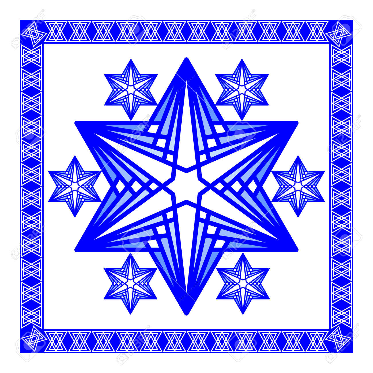 Star Of David Decoration Tile. Composed Of Simply Shapes In Blue ...