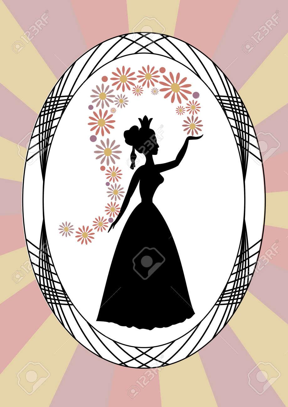 Silueta Señora De La Vendimia, Señora Flores Que Lanzan, En El Marco ...