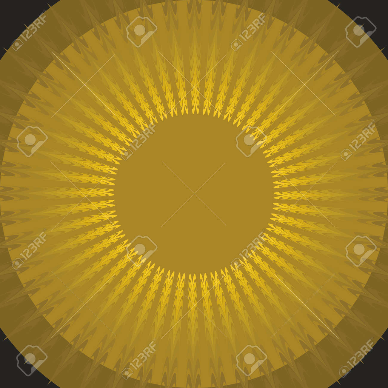Mystic sun shape on black background  Gold sun  Fantasy sun