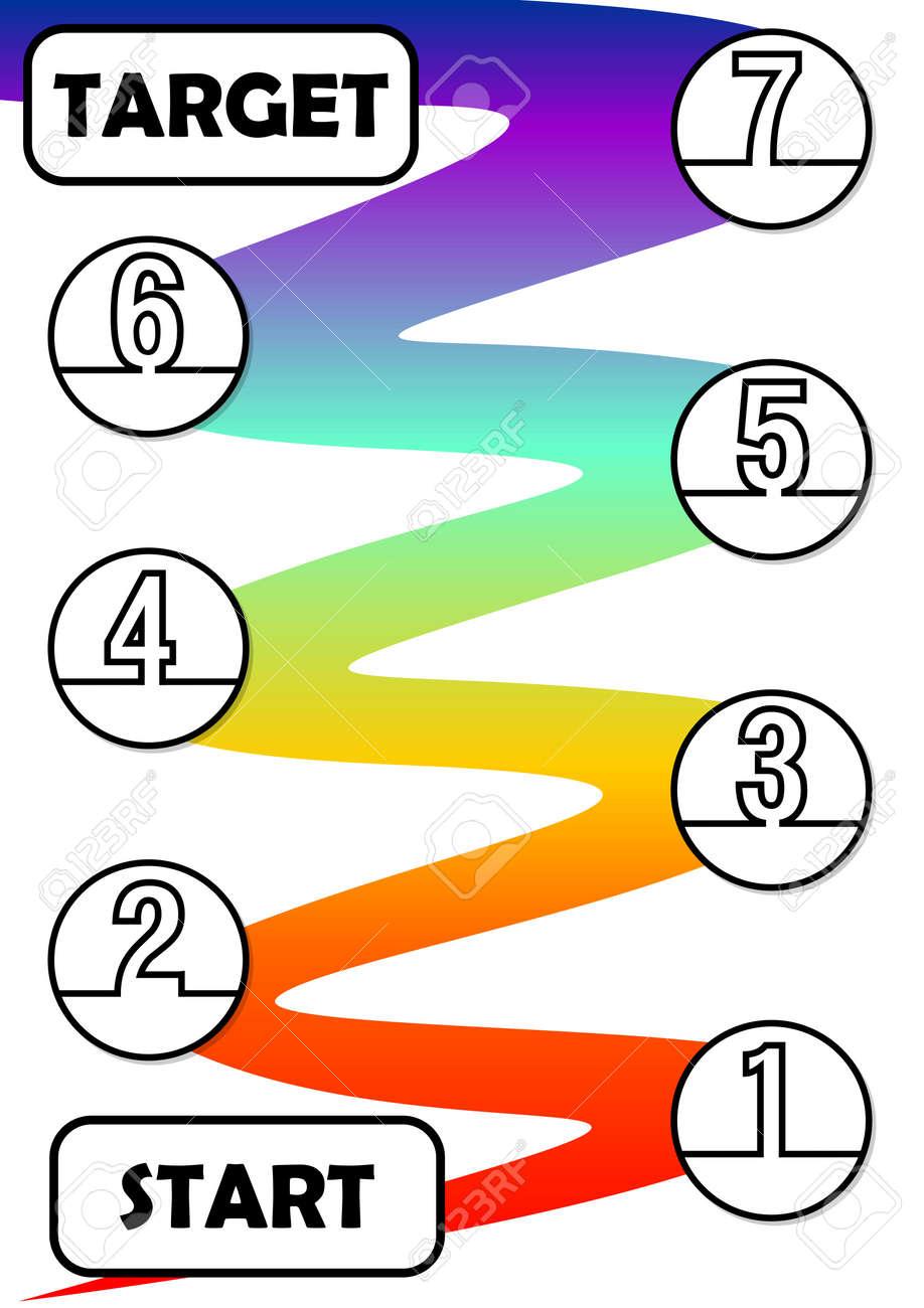 Infografía Plantilla De Proceso En Siete Pasos Con Inicio Y Destino ...