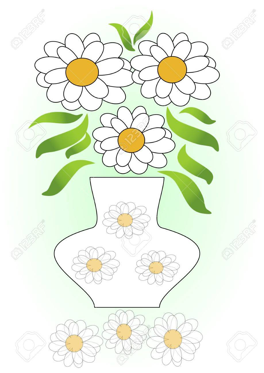 White flowers bouquet in vase with white flowers decoration vector white flowers bouquet in vase with white flowers decoration white flowers mirror image white flower composition on green gradient background mightylinksfo