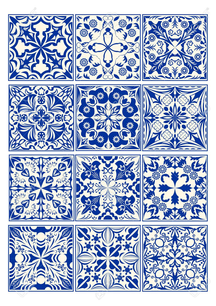 Set Of Vintage Ceramic Tiles In Azulejo Design With Blue Patterns ...