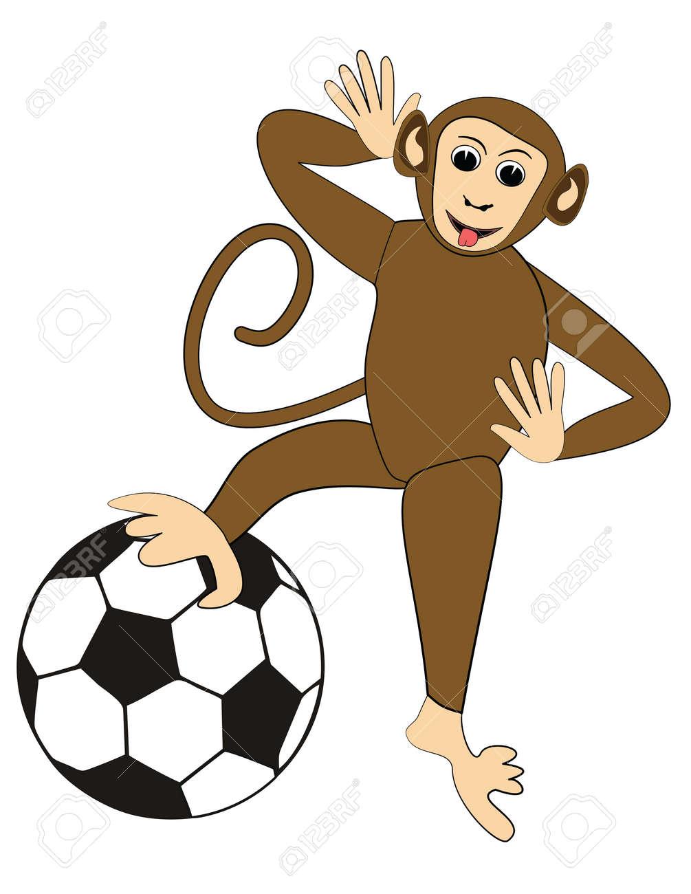 Vettoriale Scimmia Impertinente Con Un Pallone Da Calcio