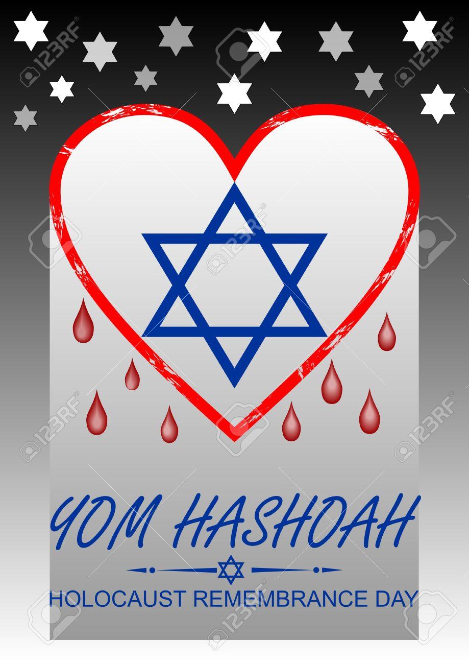 Holocaust remembrance day hebrew text yom hashoah flyer with holocaust remembrance day hebrew text yom hashoah flyer with bleeding heart and david star buycottarizona