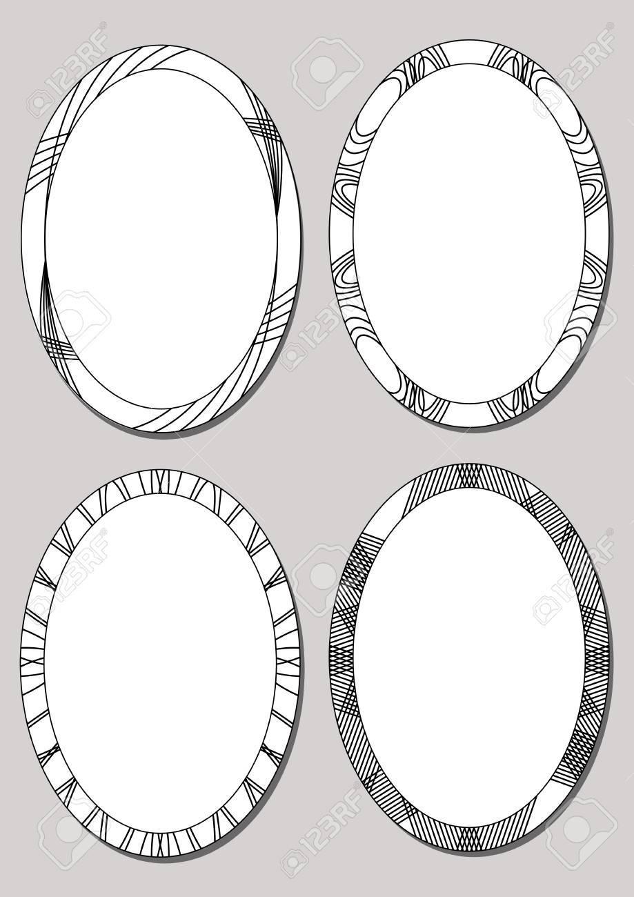 Conjunto De Marcos Ovalados En El Diseño Blanco Y Negro. Fronteras ...