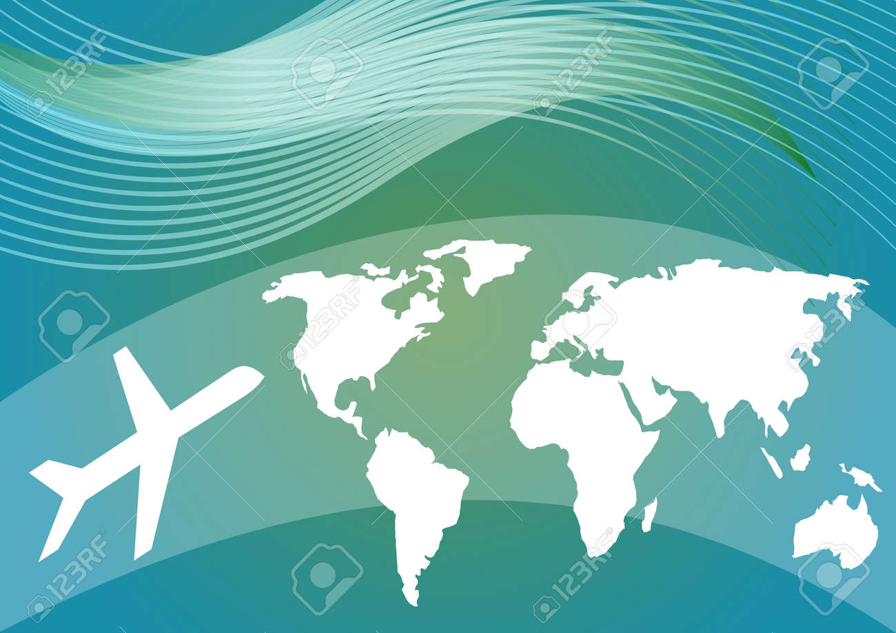 Air travelling background with stylized world map and silhouette air travelling background with stylized world map and silhouette of an airplane on blue and green gumiabroncs