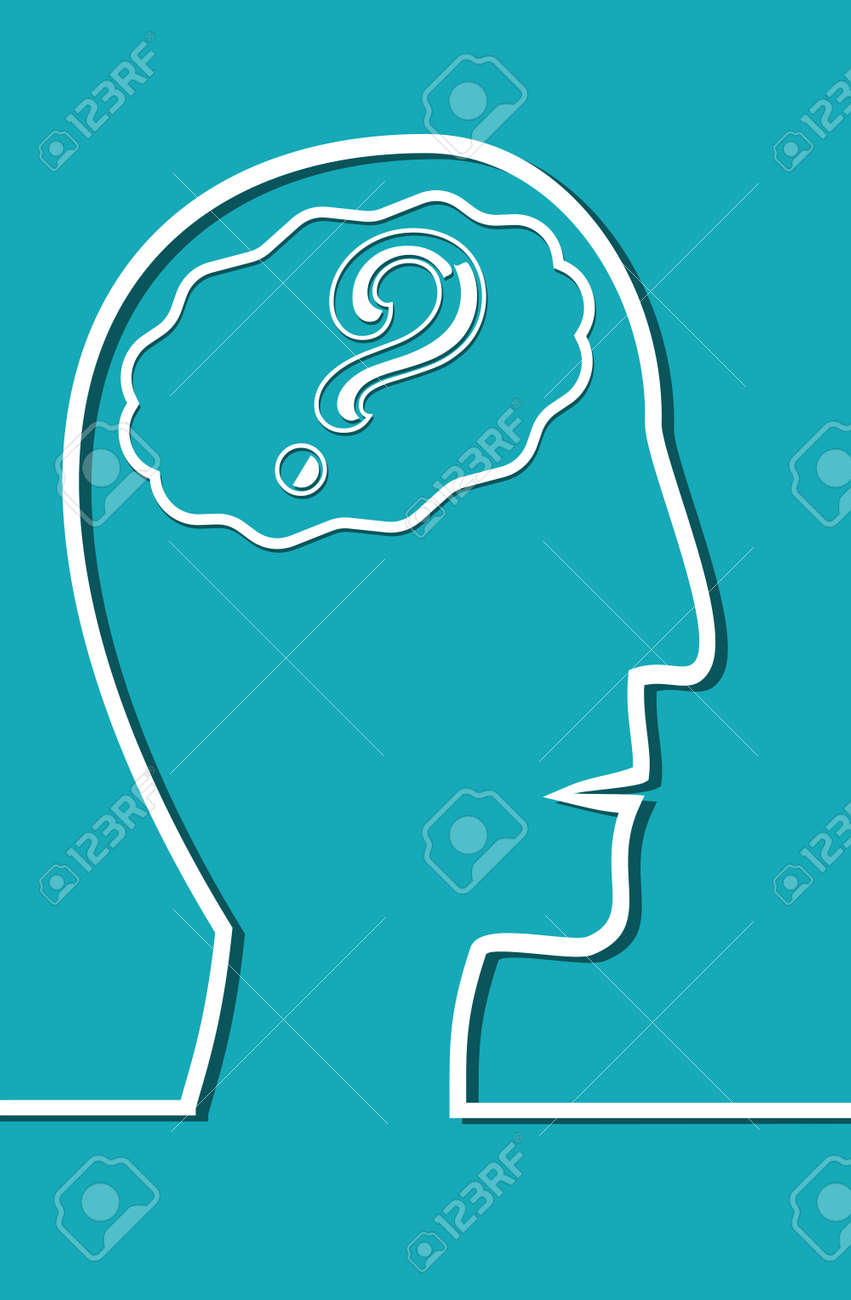 Line drawing of human head with brain in brain question mark line drawing of human head with brain in brain question mark useful as symbol biocorpaavc Image collections