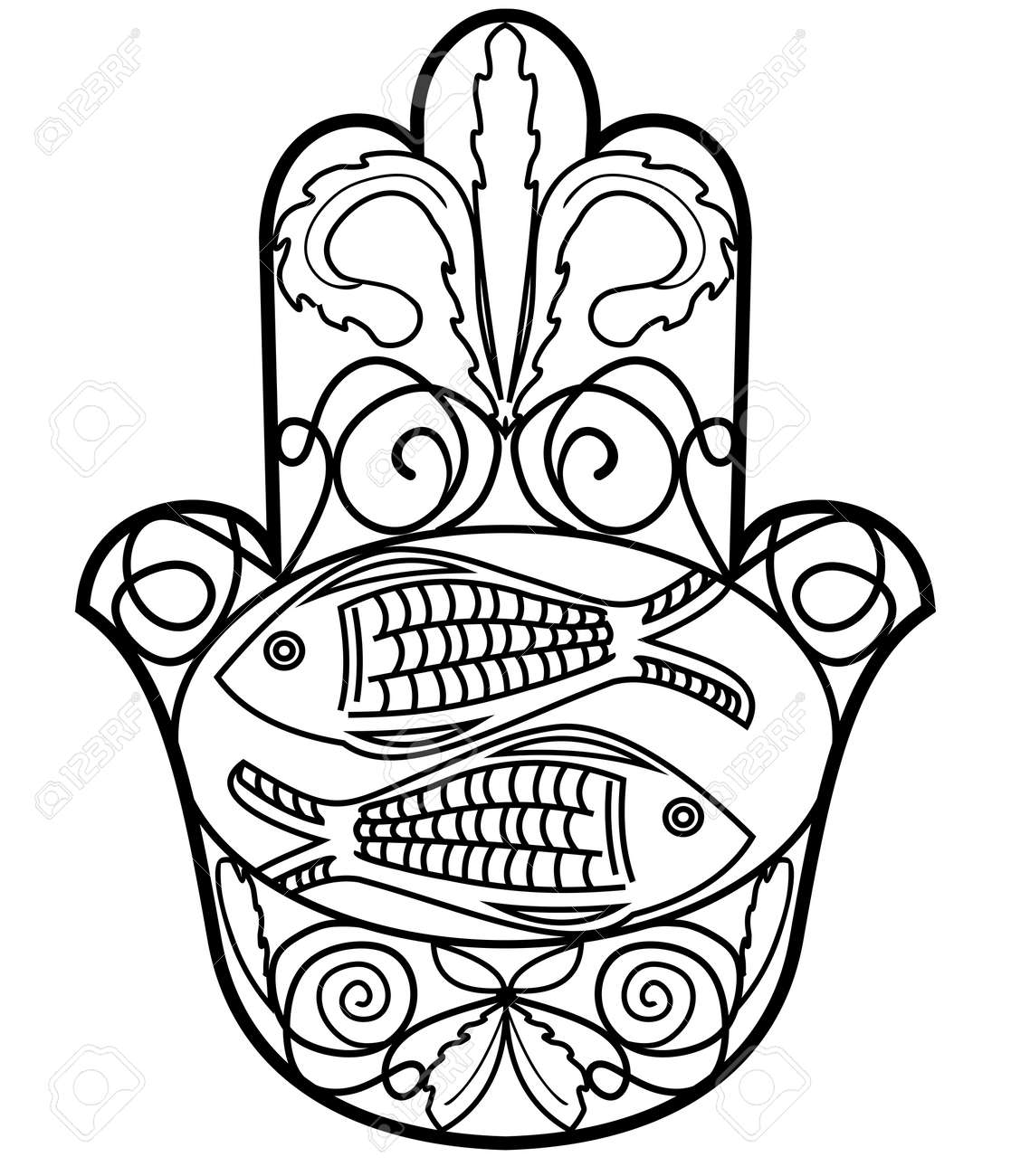 Hamsa Miriam Hand Symbol With Floral Ornament And Two Fishes