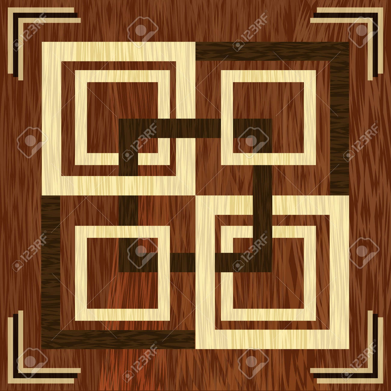 Wooden Square Inlay Light And Dark Wood Patterns Wooden Art