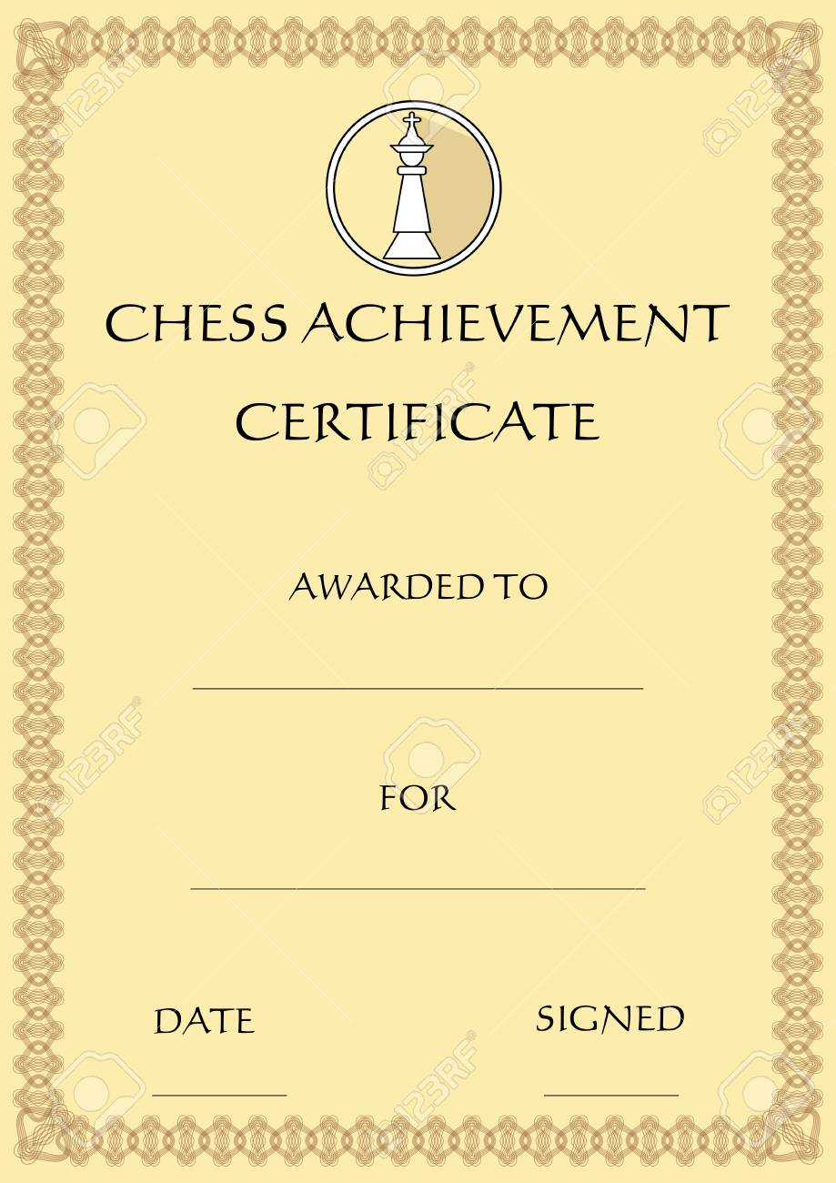 Chess Achievement Certificate Template On Old Designed Beige