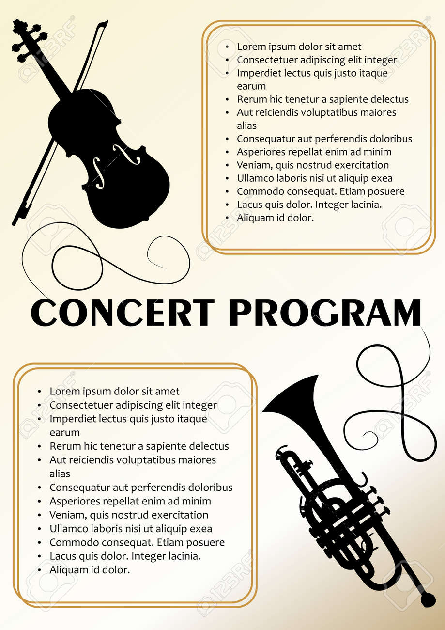 concert program template with violin and trumpet silhouette