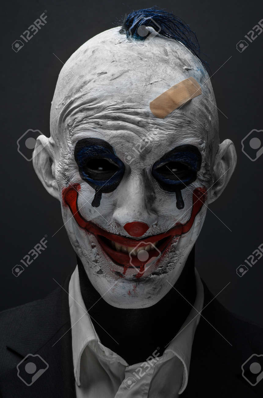 Halloween Clown.Terrible Clown And Halloween Theme Crazy Terrible Blue Clown