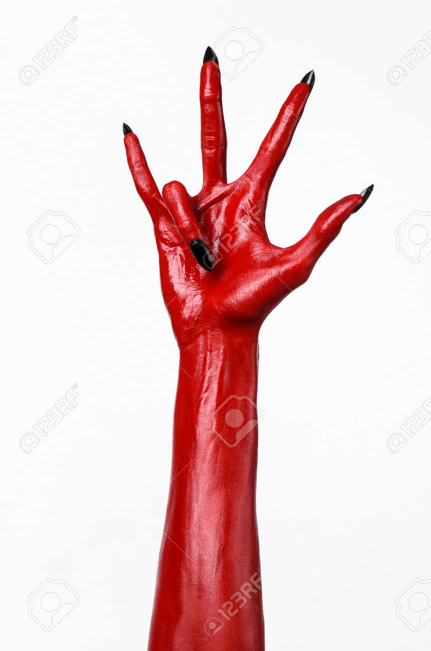 Red Devils Hands Red Hands Of Satan Halloween Theme White