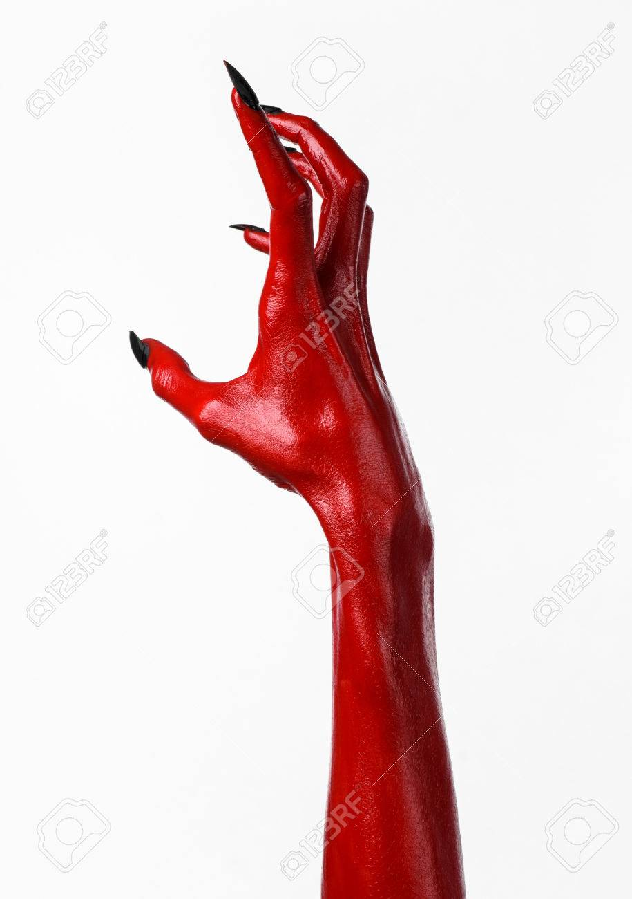 red devil s hands red hands of satan halloween theme white
