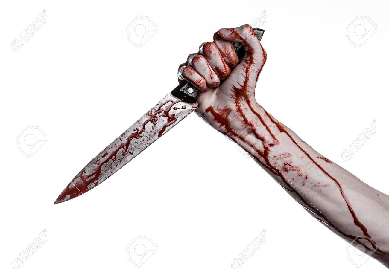 bloody hand holding a knife, a large bloody knife, bloody theme, a killer with a knife, halloween theme, white background, isolated, violence, suicide, murder, a thug, a butcher studio - 56336819