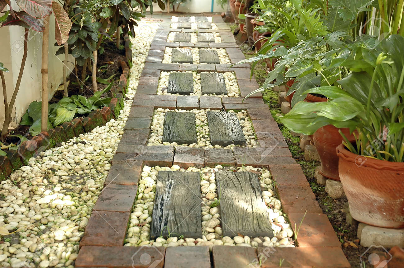 decorated pathway in the backyard stock photo picture and royalty