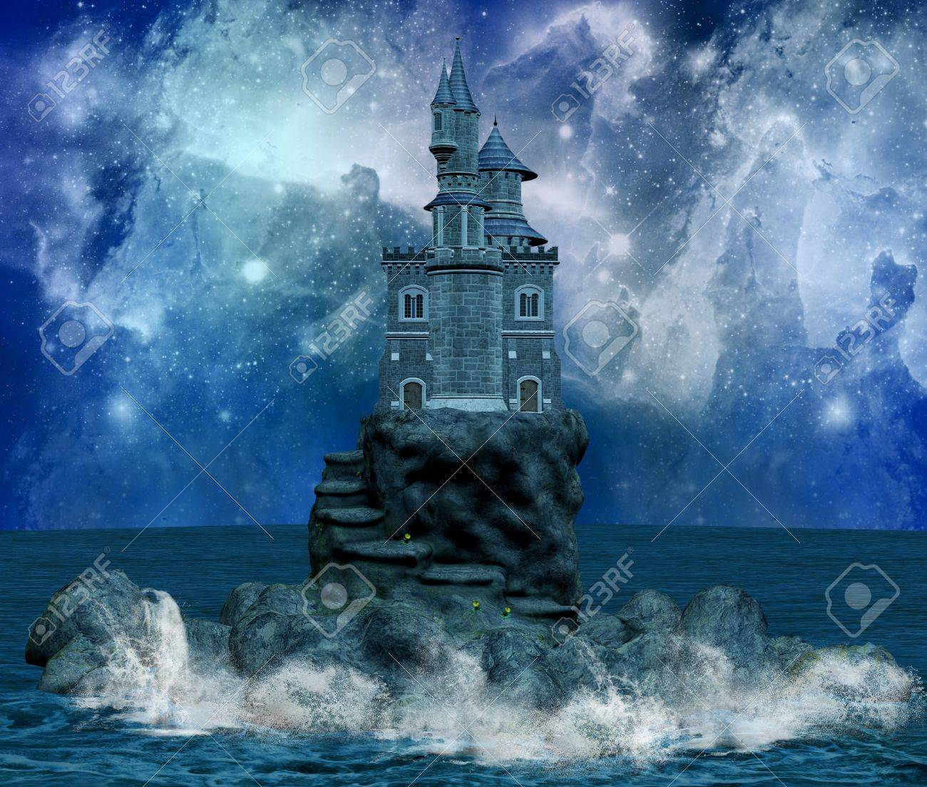 wonderful castle on an island and milky way Stock Photo - 10867012