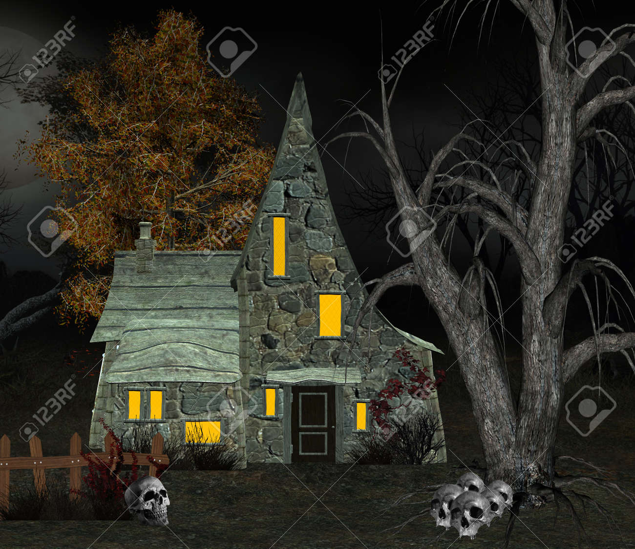 Stock Photo   Witch House With Skulls