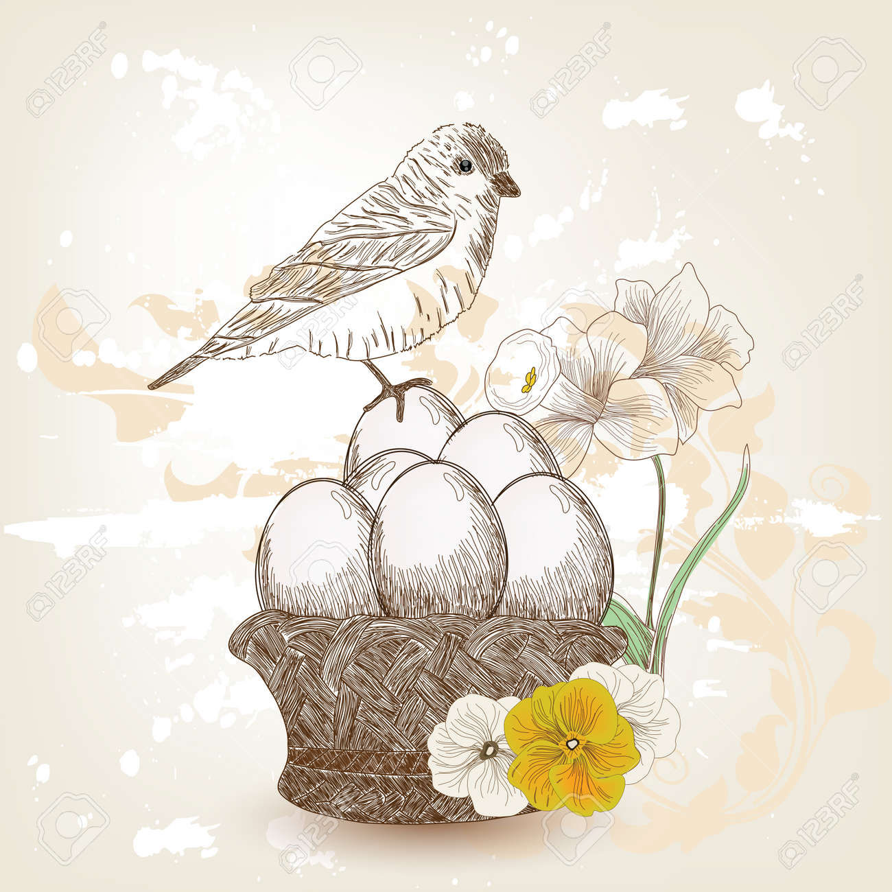 hand drawn easter composition Stock Vector - 12352536