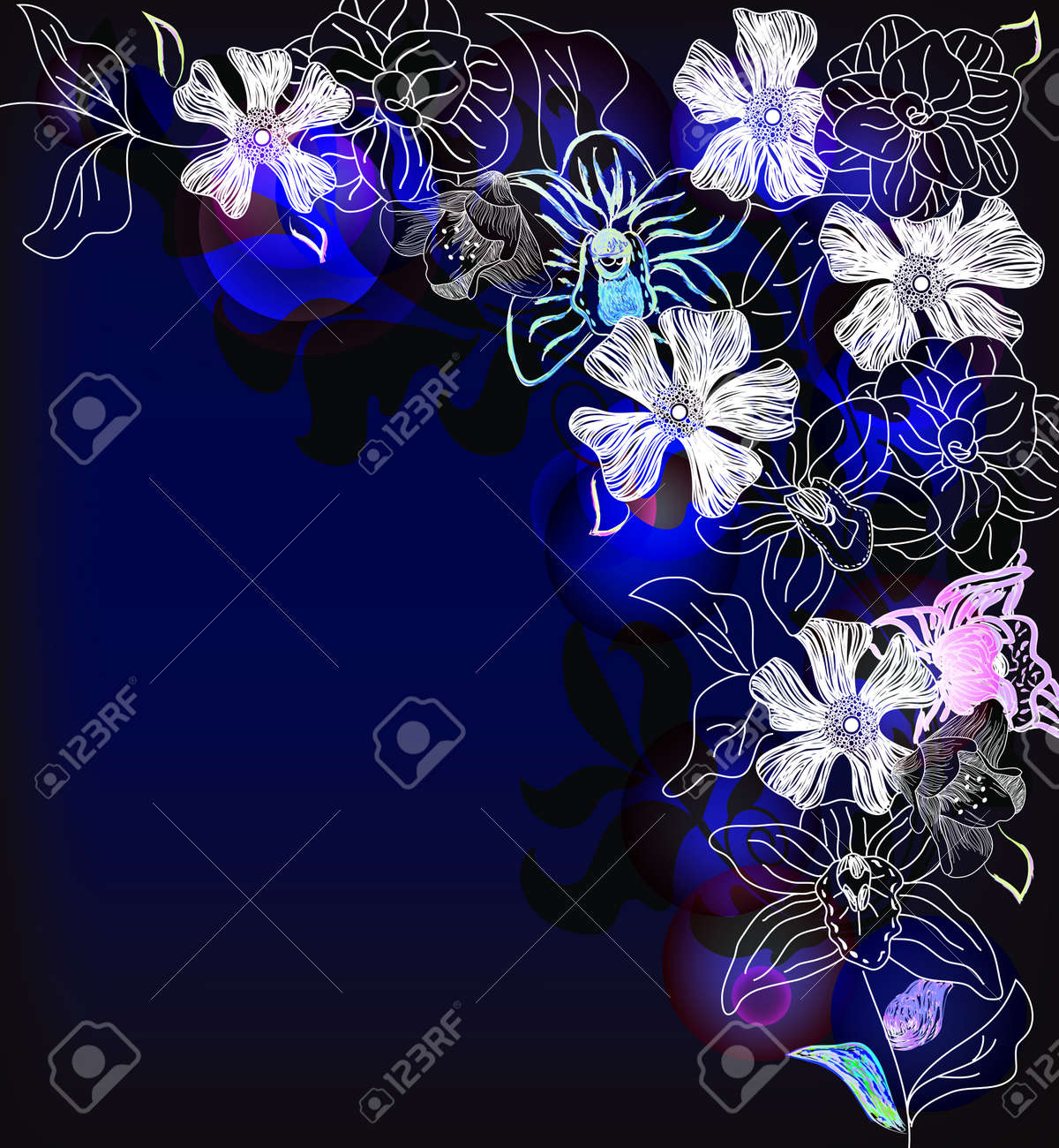 wonderful abstract frame with different kinds of flowers Stock Vector - 12352577