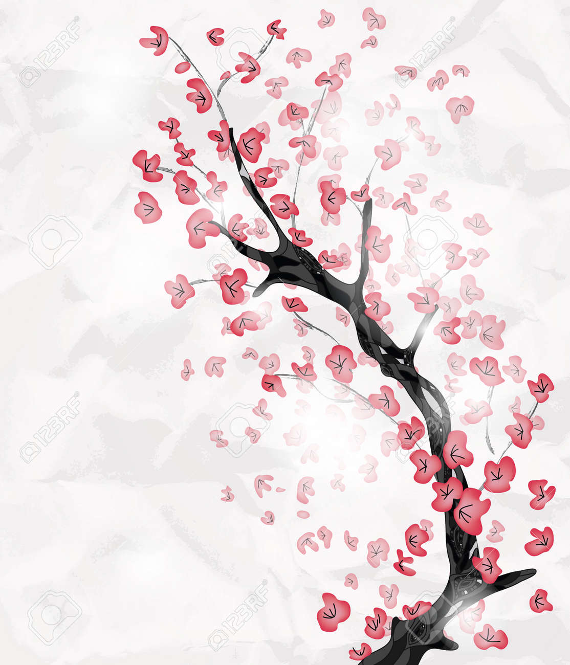 cherry blossom branch painted in an oriental style with space for text - 12495236