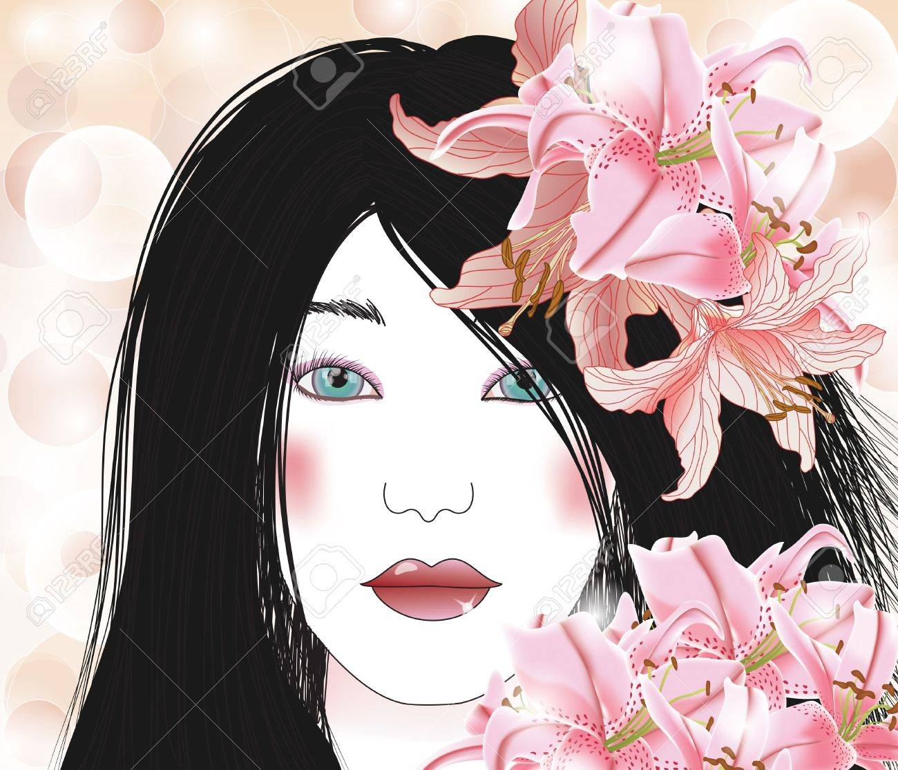 beautiful brunette with lilies Stock Vector - 12813013