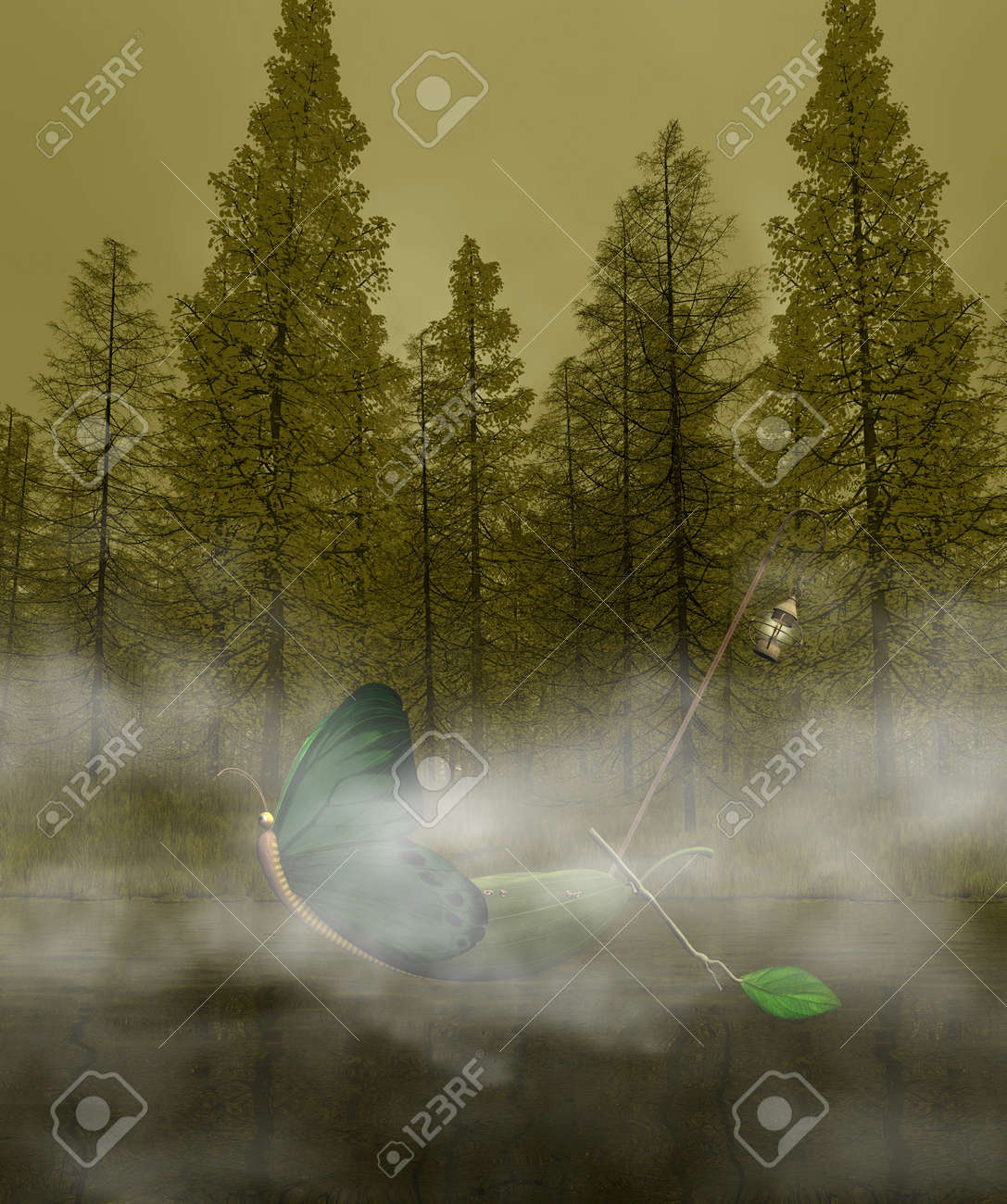 Fantasy boat in the mistyc forest Stock Photo - 13639998