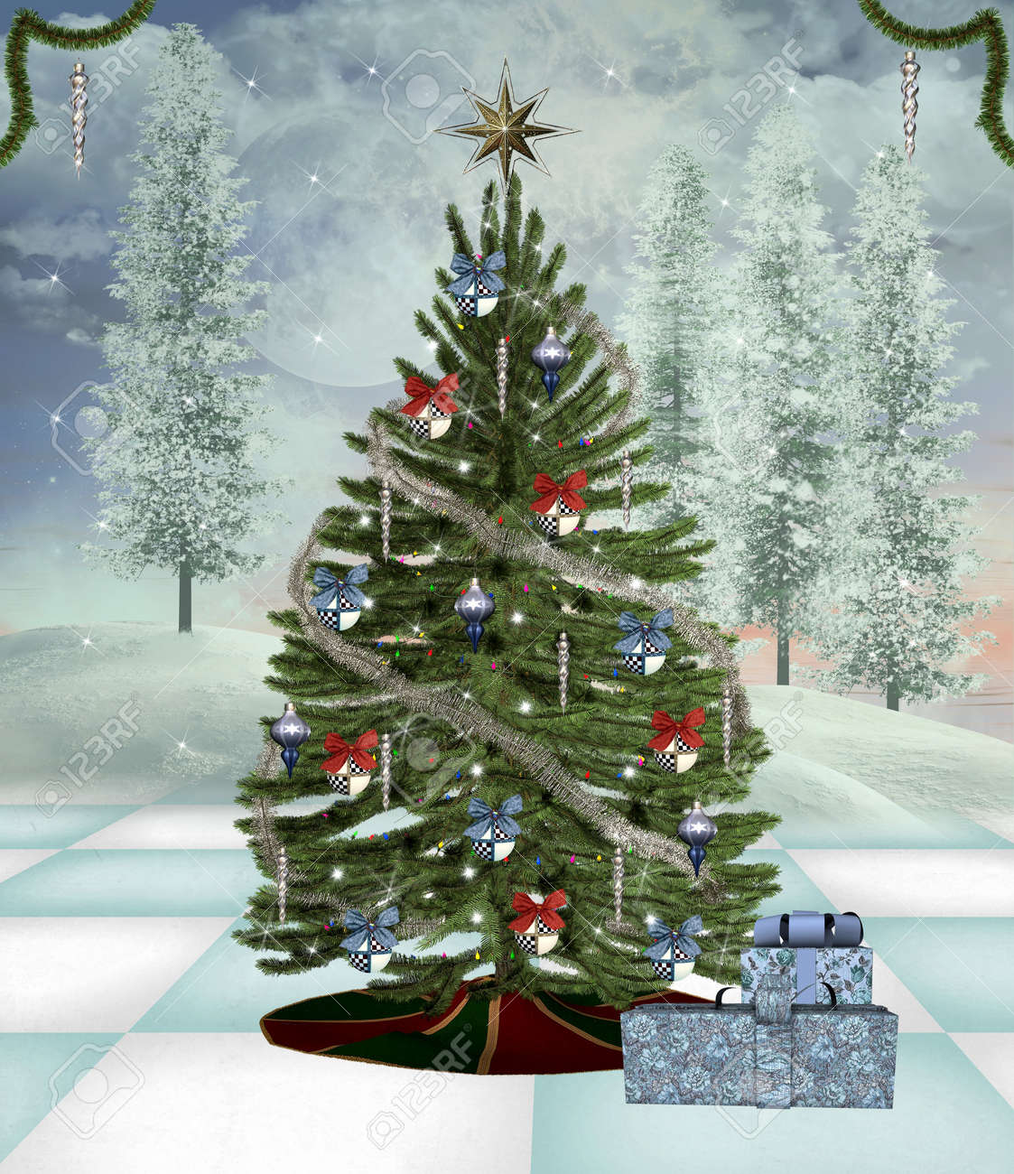 Wonderful Christmas Tree Scenery Part - 7: Christmas Tree In A Winter Scenery Stock Photo - 15602891