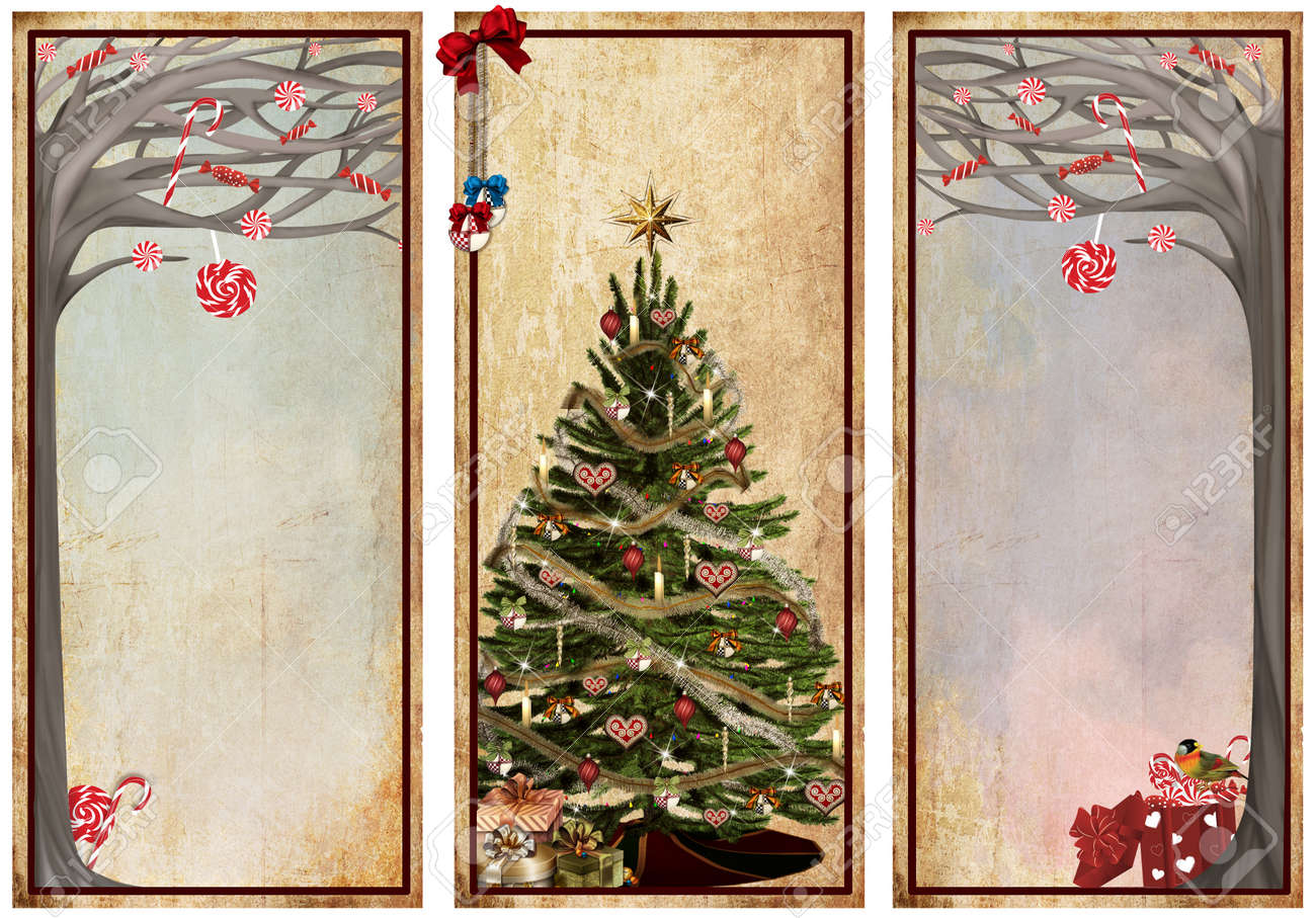 Vintage labels with christmas trees Stock Photo - 16666328