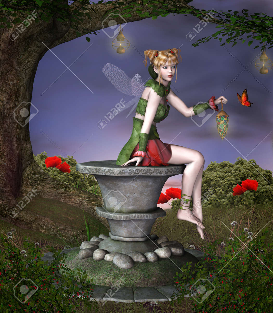 Beautiful fairy sits on a pedestal Stock Photo - 18583328