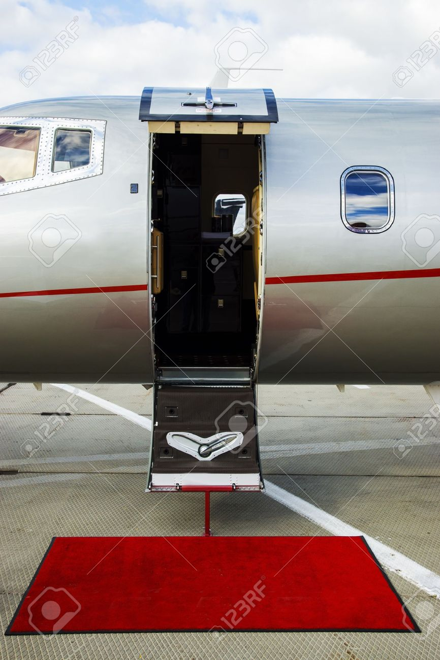 Luxury Business Private Jet plane open door at airfield Stock Photo - 18544373 & Luxury Business Private Jet Plane Open Door At Airfield Stock ... Pezcame.Com