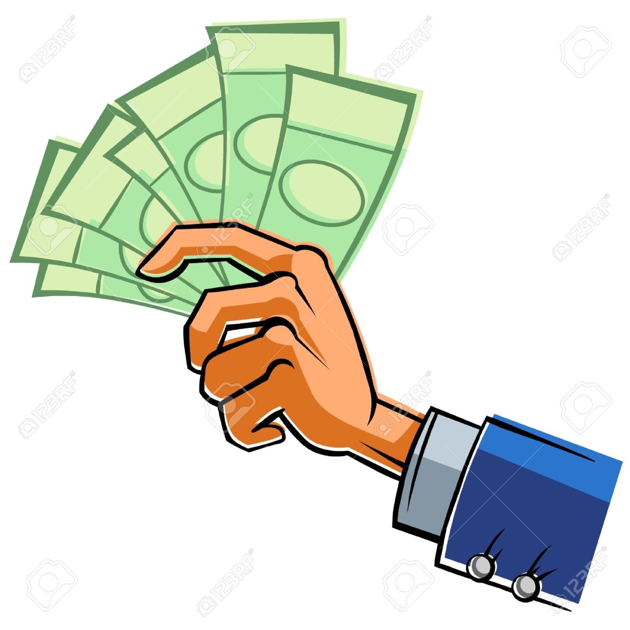 Hand with banknotes. Stock Vector - 9382073