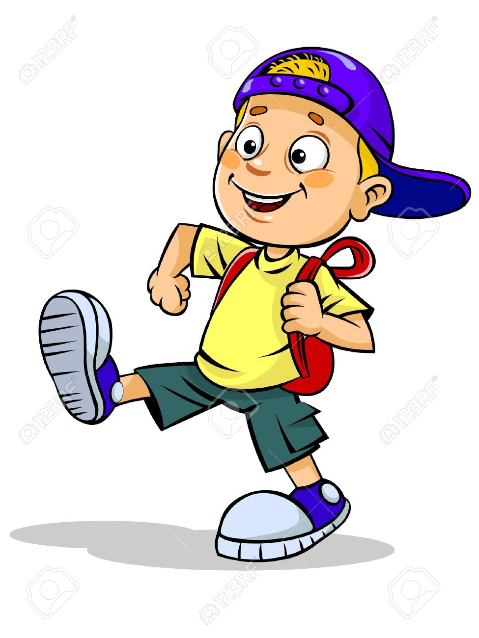 boys cartoon kid with school bag - Cartoon Kid Images