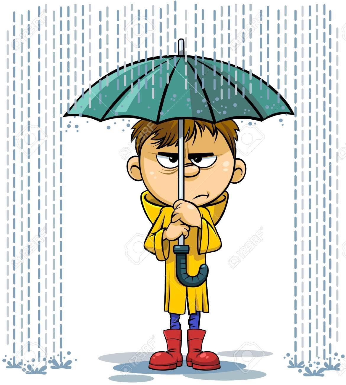 Illustration De Dessin Anime De Vecteur D Un Enfant Triste Sous Un