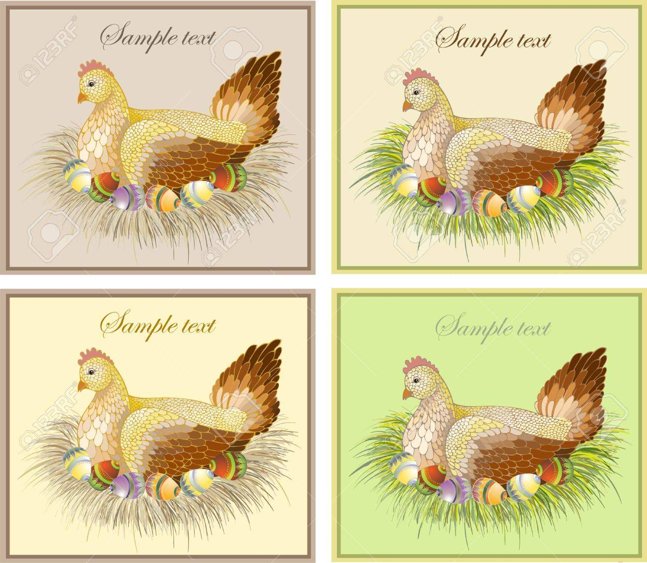 Easter card with hen and rooster Stock Vector - 8789117