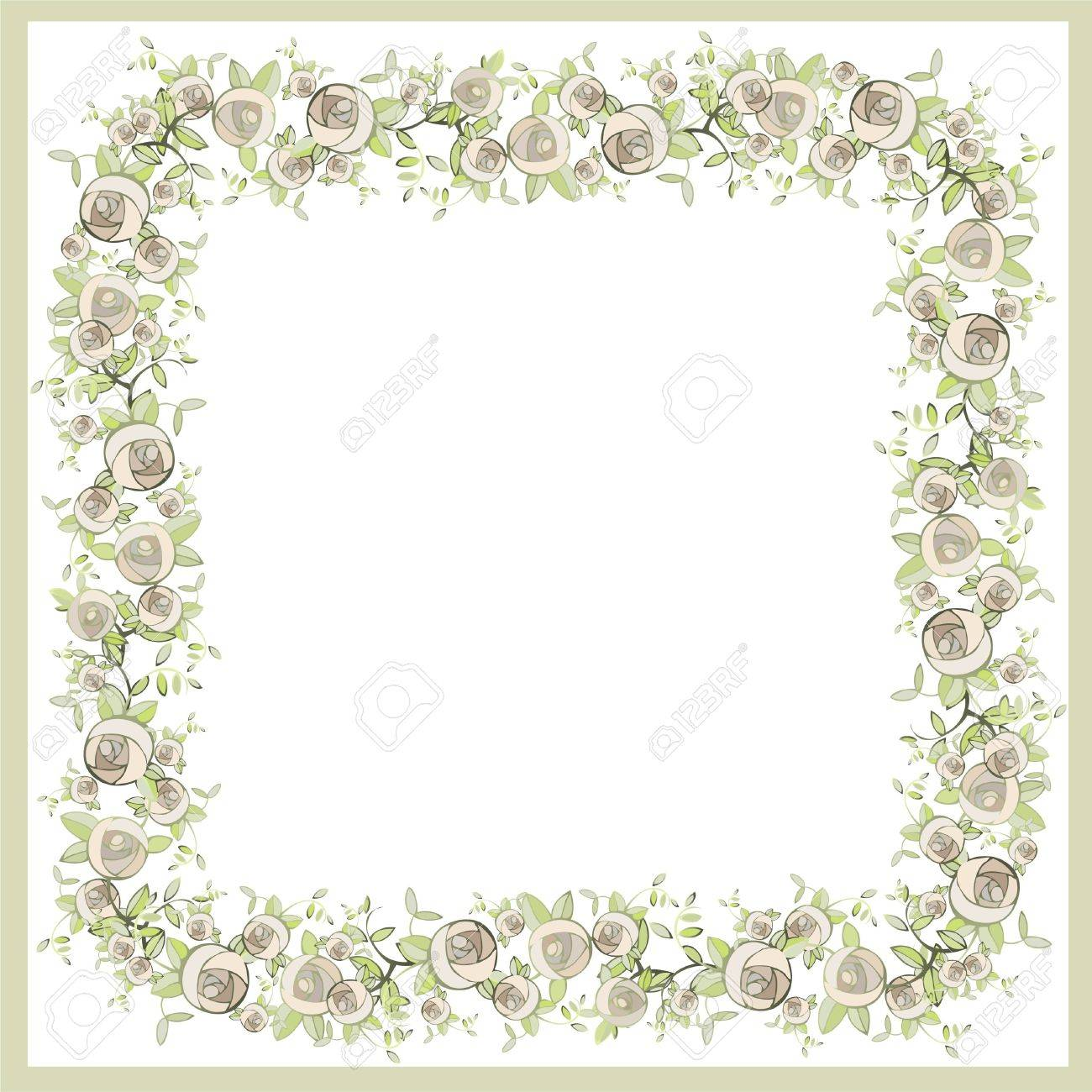 Beautiful decorative framework with flowers. Greeting card with rose. Stock Vector - 9420571