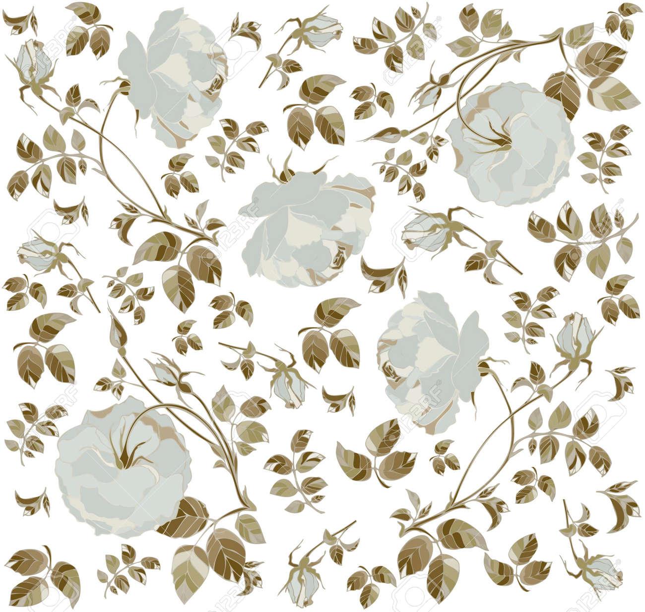 Fondo transparente de un adorno de flores, moda modern wallpaper o textiles. Foto de
