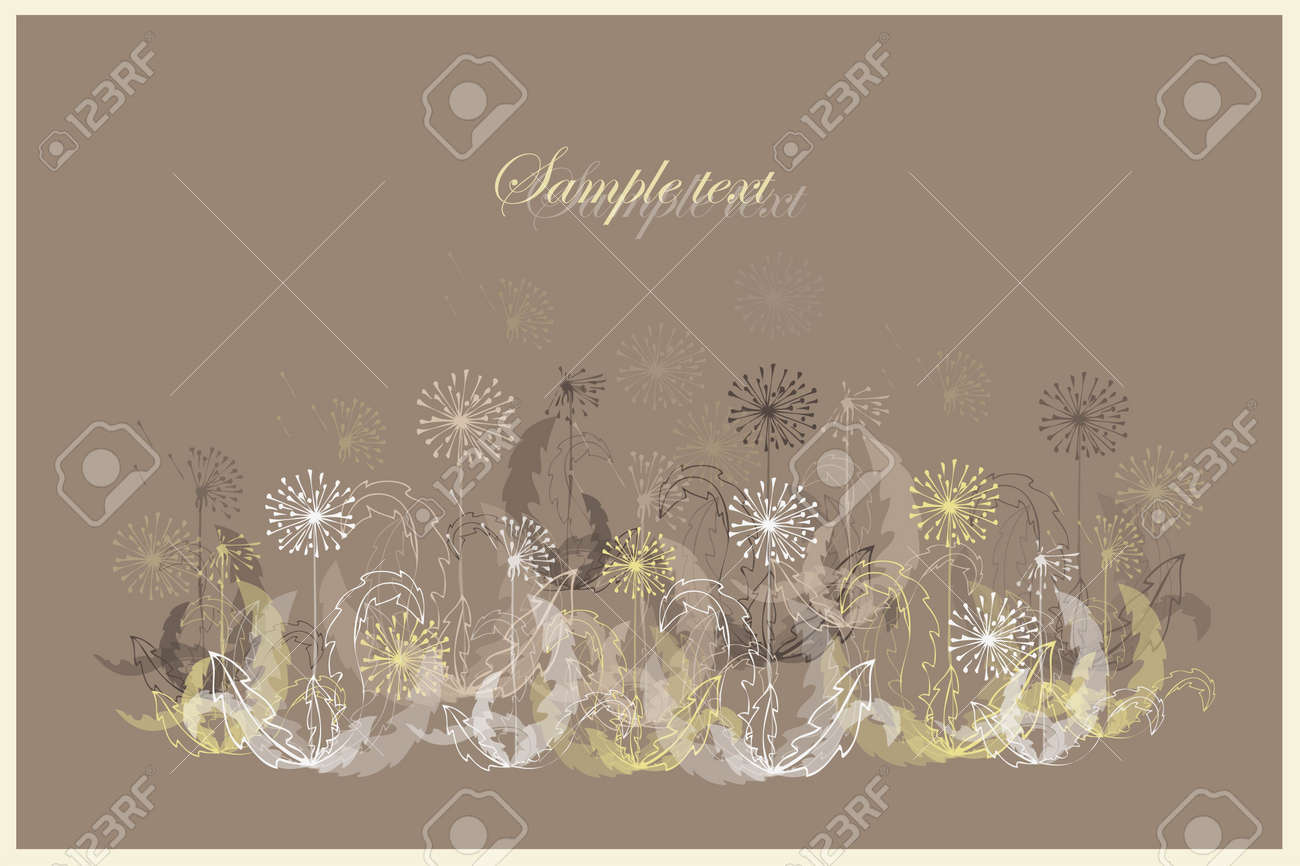 Beautiful decorative framework with flowers. Greeting card with dandelion Stock Vector - 9932521