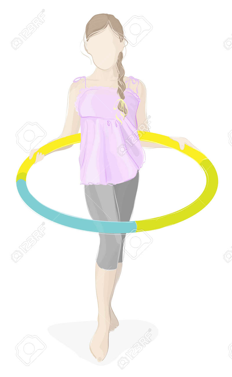 Beauty girl with hula hoop isolated on white Stock Vector - 10257512