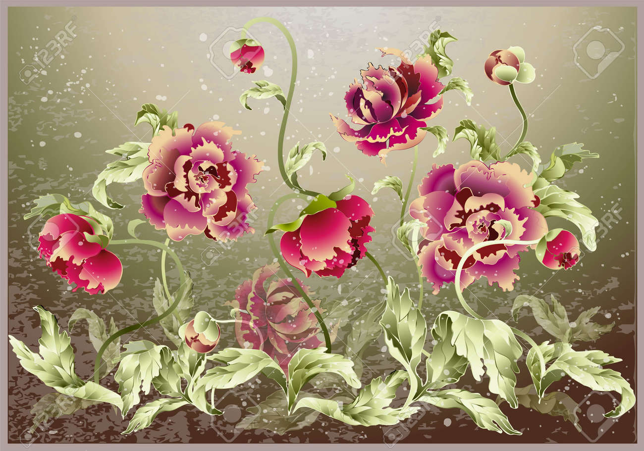 Greeting card with peony. Illustration peony. Stock Vector - 10407959