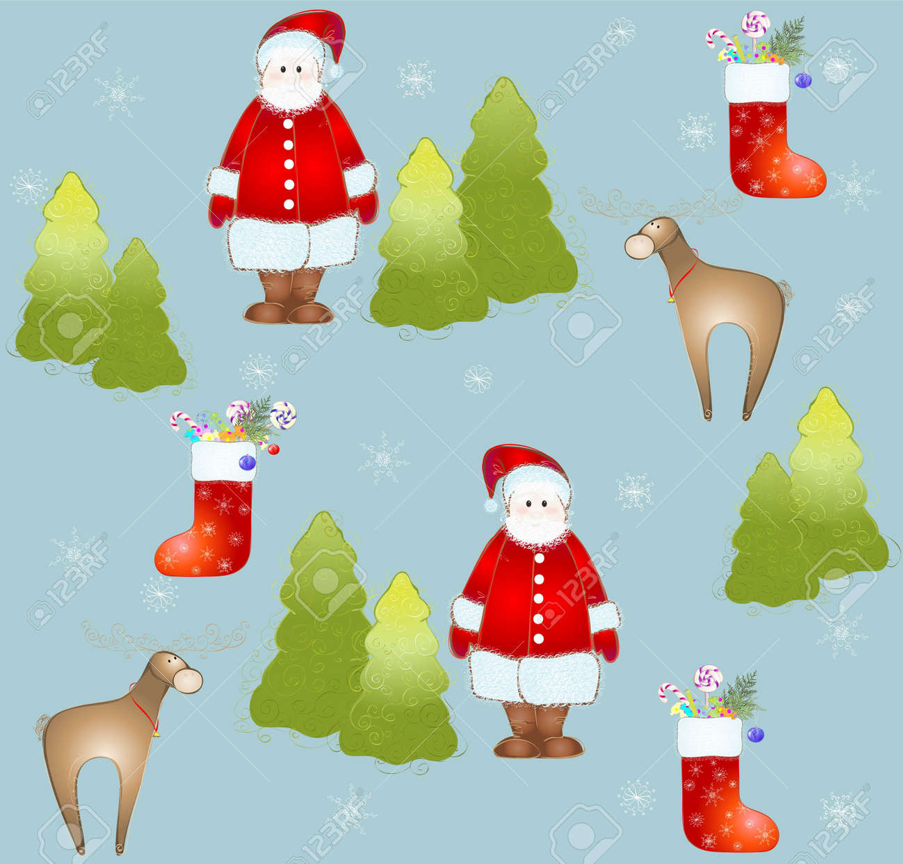Seamless background.Illustration Santa and deer and fur-tree and snowflakes. Stock Vector - 11497580