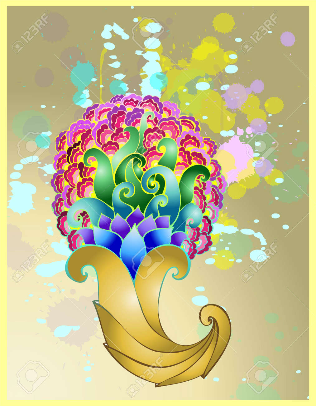 Golden horn of plenty with floral patterns. Stock Vector - 14152813