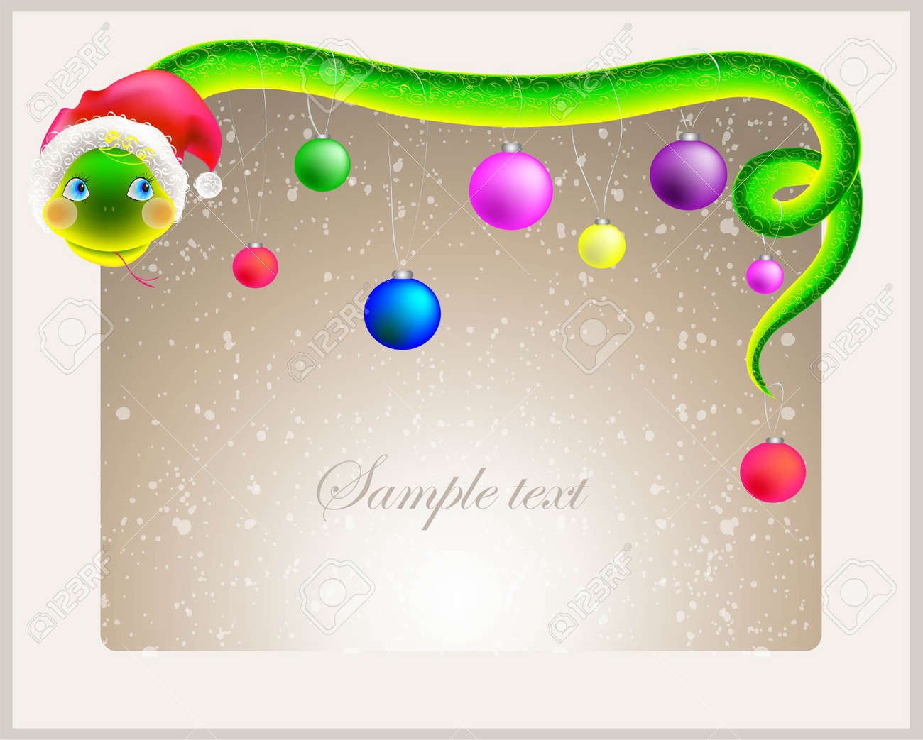 Cute snake  symbol of 2013 year  in Santa s hat  Greeting card with a snake in a hat santa Stock Vector - 16446694