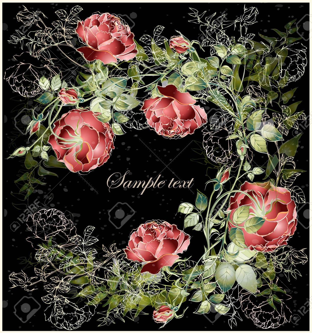 Greeting card with rose. Illustration  roses. Beautiful decorative framework with flowers. Stock Vector - 20327847