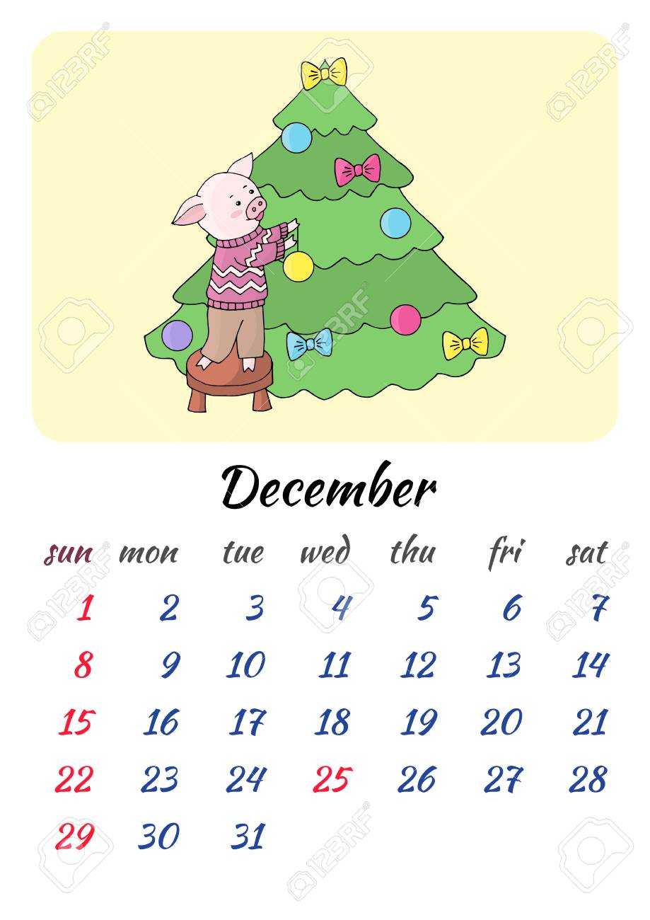 Christmas 2019 Calendar.Calendar For December 2019 New Year With A Cheerful Picture With