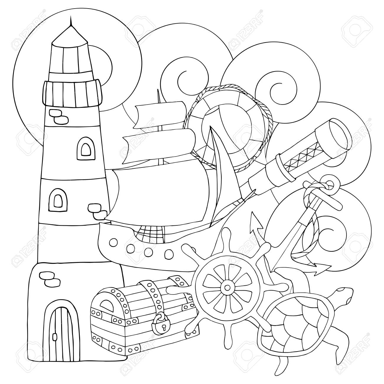 Abstract coloring page for adults and children with sea set:..