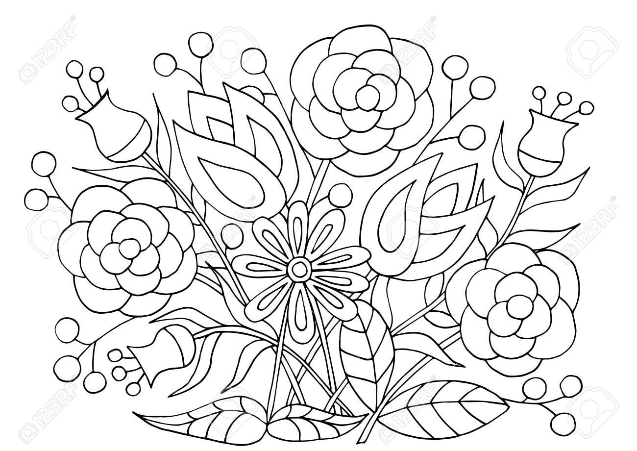 Hand Drawn Flower Patterns Coloring Page For Children And Adults Royalty Free Cliparts Vectors And Stock Illustration Image 123598258